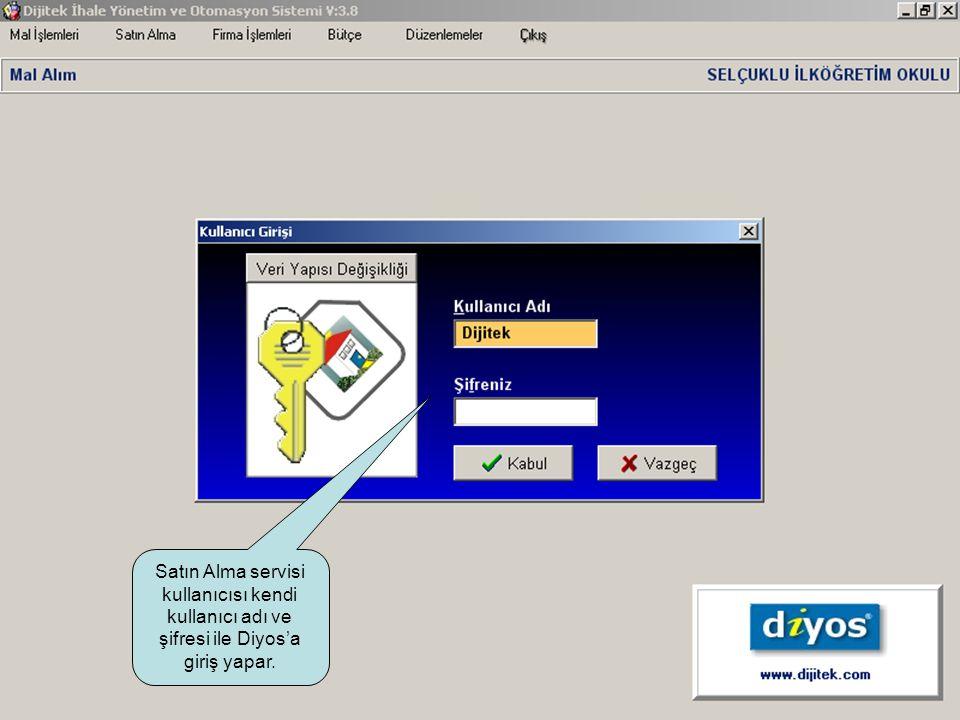 Satın Alma servisi kullanıcısı kendi kullanıcı adı ve şifresi ile Diyos'a giriş yapar.