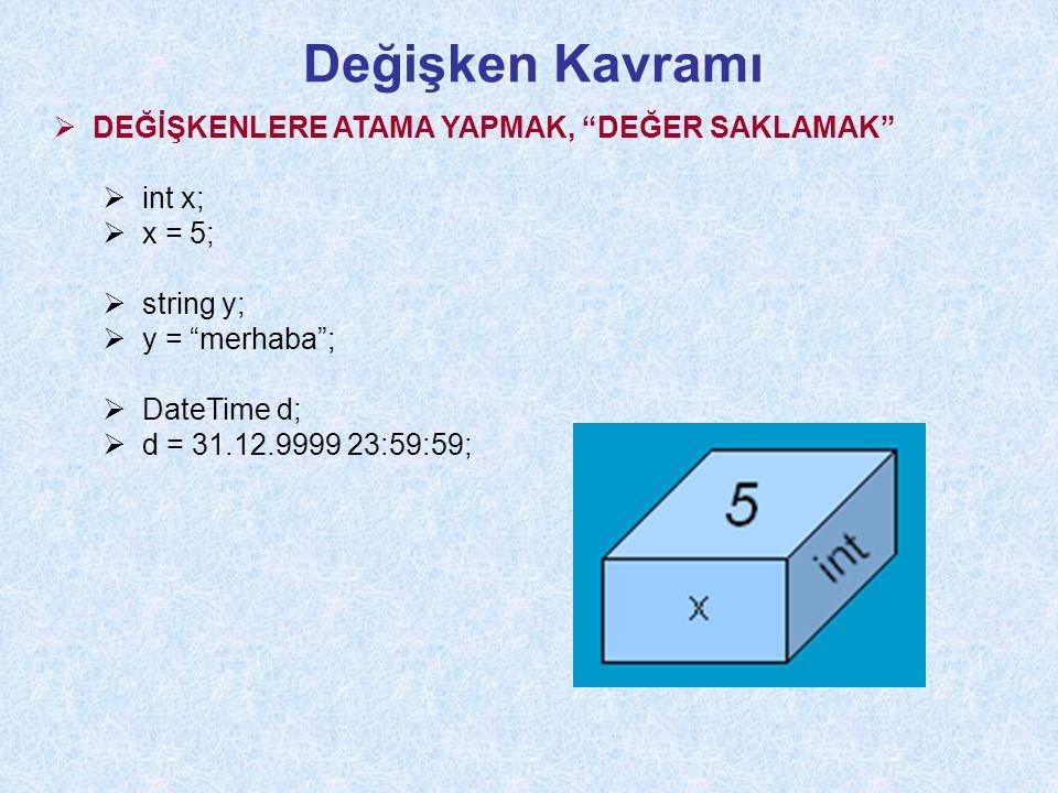 Değişken Kavramı  DEĞİŞKENLERE ATAMA YAPMAK, DEĞER SAKLAMAK  int x;  x = 5;  string y;  y = merhaba ;  DateTime d;  d = 31.12.9999 23:59:59;