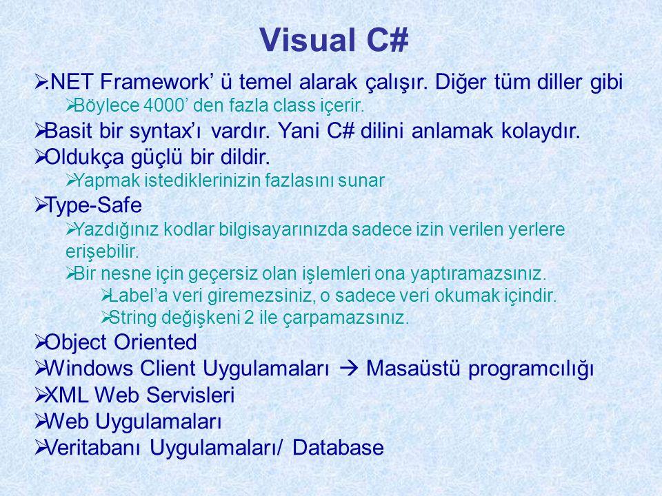 Visual C# .NET Framework' ü temel alarak çalışır.