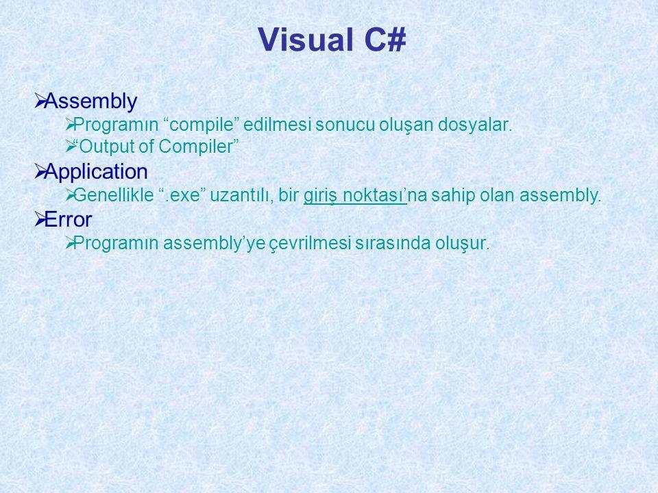 Visual C#  Assembly  Programın compile edilmesi sonucu oluşan dosyalar.