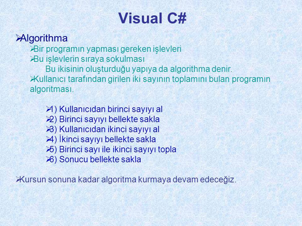 Visual C# Program.cs  Kaydedilen dosyanın ismi using System; namespace ConsoleApplication1 { class Program { static void Main(string[] args) { Console.WriteLine( ilk örneğimiz ); Console.ReadLine(); } } }