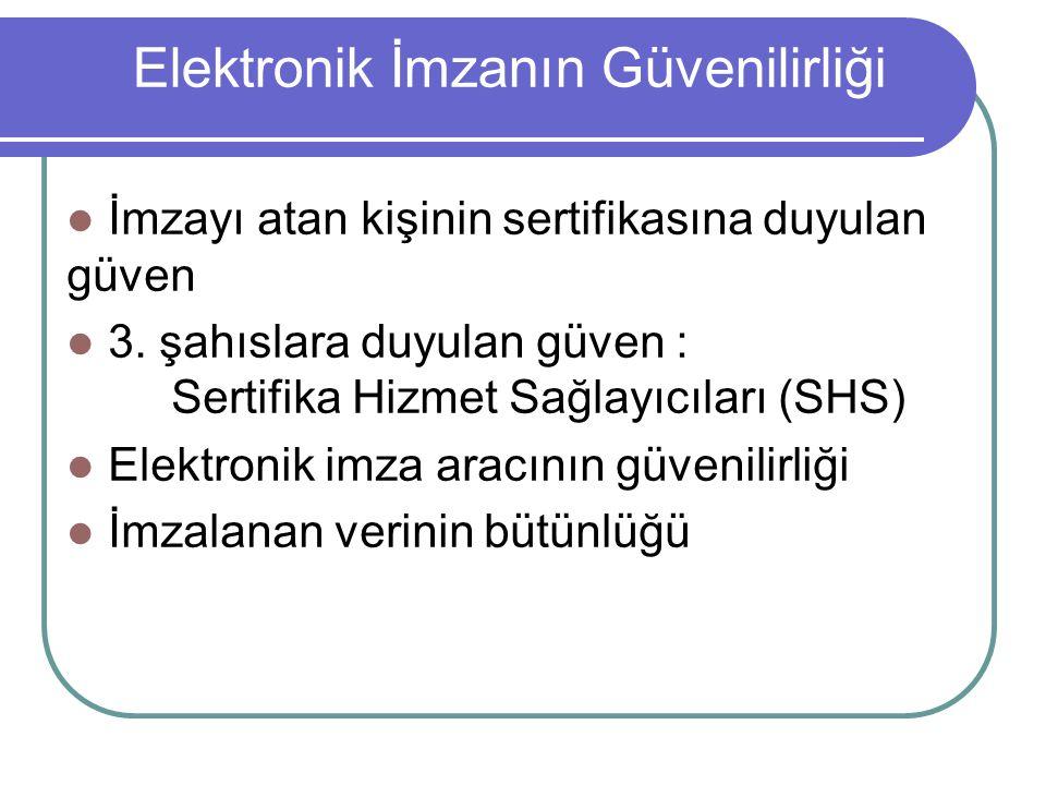 Elektronik İmzanın Güvenilirliği  İmzayı atan kişinin sertifikasına duyulan güven  3. şahıslara duyulan güven : Sertifika Hizmet Sağlayıcıları (SHS)