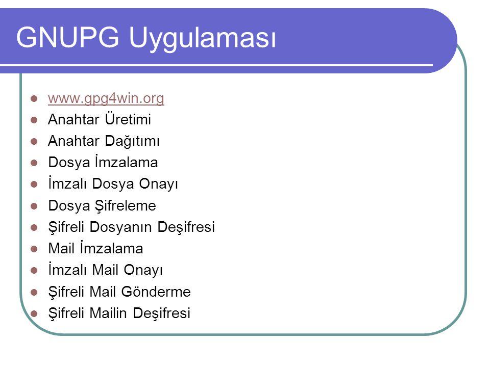 GNUPG Uygulaması  www.gpg4win.org www.gpg4win.org  Anahtar Üretimi  Anahtar Dağıtımı  Dosya İmzalama  İmzalı Dosya Onayı  Dosya Şifreleme  Şifr