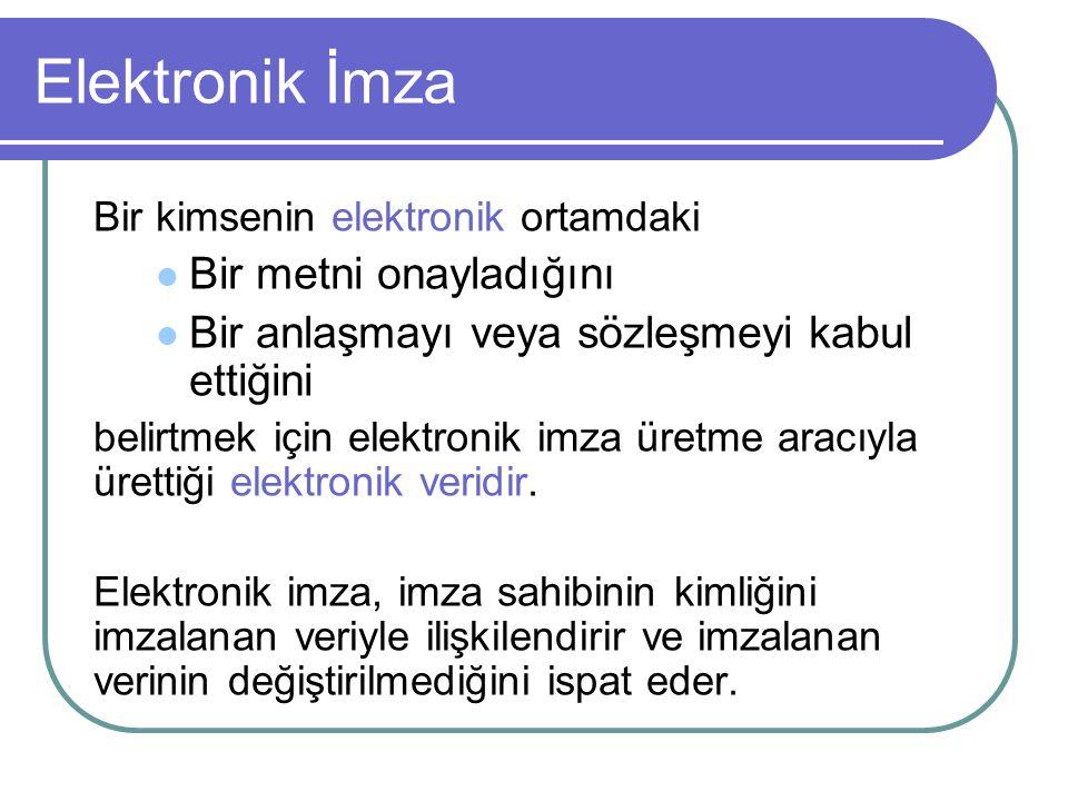 Elektronik Sertifika Hizmet Sağlayıcılar:  5070 sayılı Elektronik İmza Kanunu (Yayınlanma: 23 Ocak 2004, Yürürlük: 23 Temmuz 2004)  Düzenleyici Kurum: Telekomünikasyon Kurumu  Yönetmelik / Tebliğ (Son tarih: 23 Ocak 2005) Kamu Sertifikasyon Merkezi:  e-Dönüşüm Türkiye İcra Kurulu Kararı (10 Haziran 2004)  Başbakanlık Genelgesi (6 Eylül 2004)  Kamu SM: TÜBİTAK UEKAE ( Ulusal Elektronik ve Kriptoloji Araştırma Enstitüsü )  Koordinasyon: Telekomünikasyon Kurumu & DPT