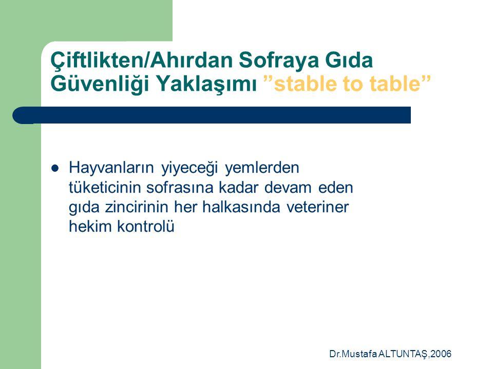 """Dr.Mustafa ALTUNTAŞ,2006 Çiftlikten/Ahırdan Sofraya Gıda Güvenliği Yaklaşımı """"stable to table""""  Hayvanların yiyeceği yemlerden tüketicinin sofrasına"""