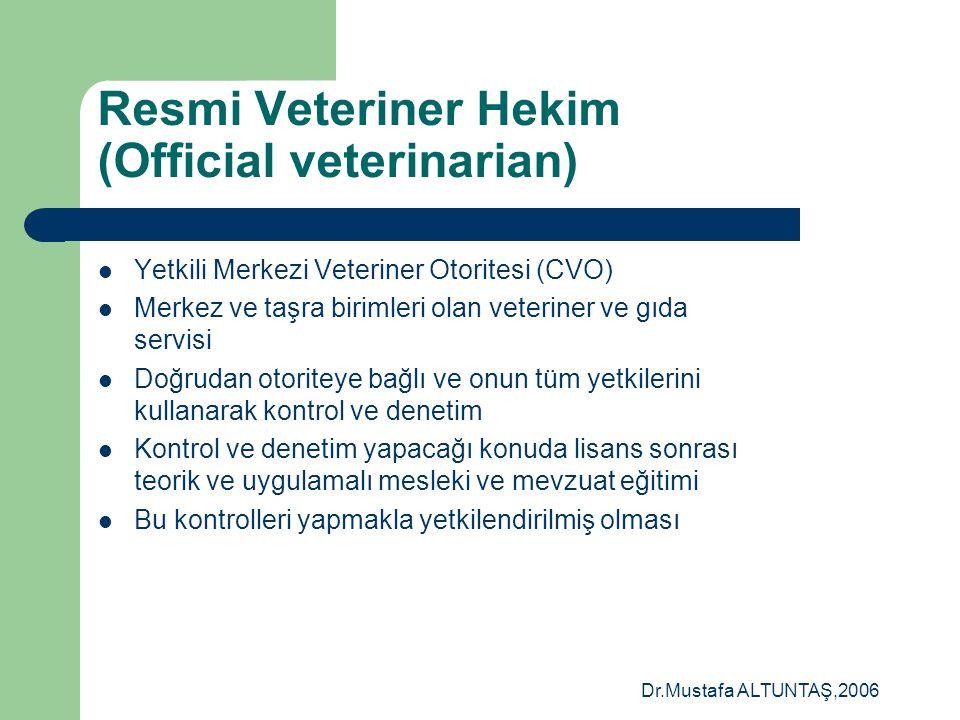 Dr.Mustafa ALTUNTAŞ,2006 Yeni Hijyen paketi?  Sorumluluk >> Gıda üreticisi  Kontrol ve denetim >>Resmi veteriner hekim