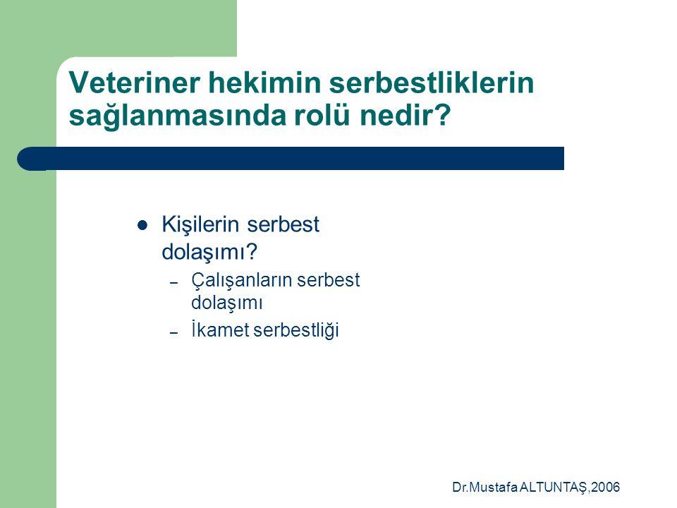 Dr.Mustafa ALTUNTAŞ,2006 Avrupa Birliği= 4 Serbestlik  Kişilerin serbest dolaşımı  Hizmetlerin serbest Dolaşımı  Malların serbest dolaşımı  Sermay