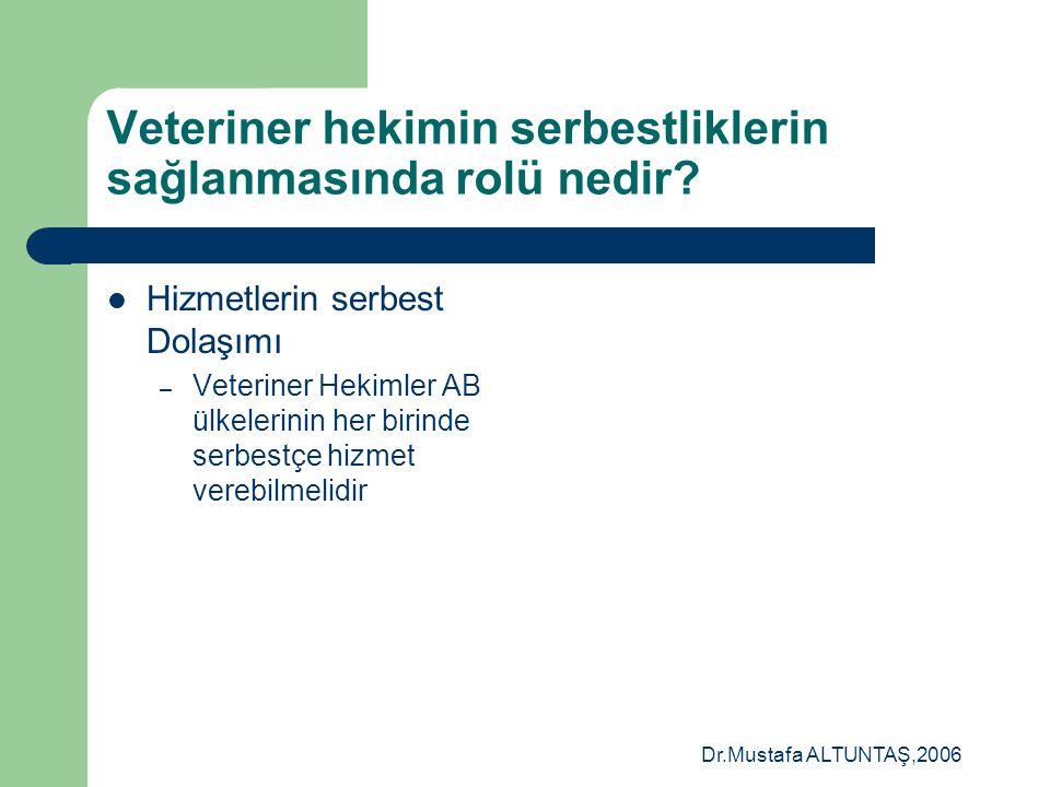 Dr.Mustafa ALTUNTAŞ,2006 Veteriner hekimin serbestliklerin sağlanmasında rolü nedir?  Kişilerin serbest dolaşımı? – Çalışanların serbest dolaşımı – İ