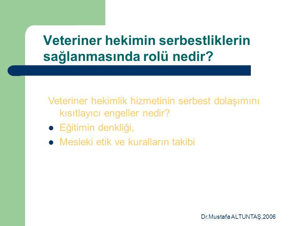 Dr.Mustafa ALTUNTAŞ,2006 Veteriner hekimin serbestliklerin sağlanmasında rolü nedir?  Hizmetlerin serbest Dolaşımı – Veteriner Hekimler AB ülkelerini