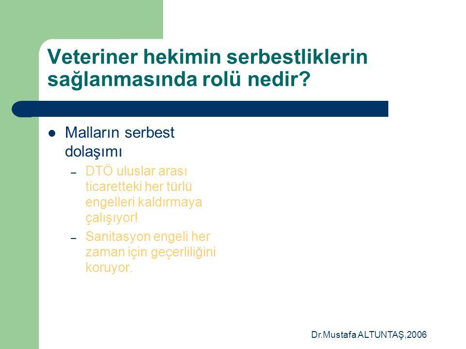 Dr.Mustafa ALTUNTAŞ,2006 Veteriner hekimin serbestliklerin sağlanmasında rolü nedir? Veteriner hekimlik hizmetinin serbest dolaşımını kısıtlayıcı enge