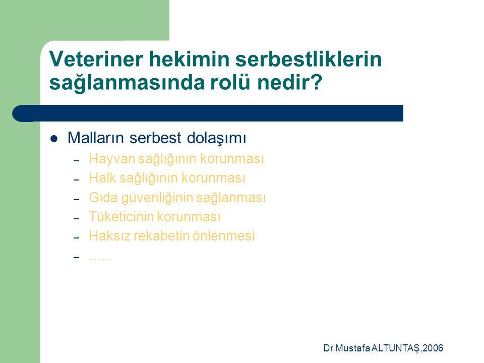 Dr.Mustafa ALTUNTAŞ,2006 Veteriner hekimin serbestliklerin sağlanmasında rolü nedir?  Malların serbest dolaşımı – DTÖ uluslar arası ticaretteki her t