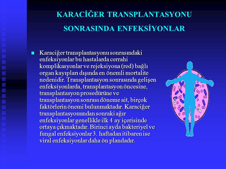 KARACİĞER TRANSPLANTASYONU SONRASINDA ENFEKSİYONLAR  Karaciğer transplantasyonu sonrasındaki enfeksiyonlar bu hastalarda cerrahi komplikasyonlar ve r