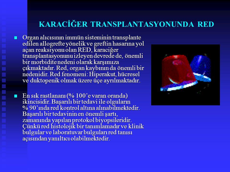 KARACİĞER TRANSPLANTASYONUNDA RED  Organ alıcısının immün sisteminin transplante edilen allogrefte yönelik ve greftin hasarına yol açan reaksiyonu ol