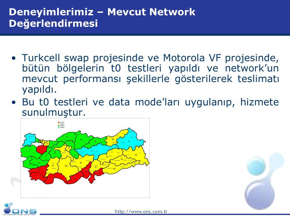 http://www.ons.com.tr Deneyimlerimiz – Mevcut Network Değerlendirmesi •Turkcell swap projesinde ve Motorola VF projesinde, bütün bölgelerin t0 testler