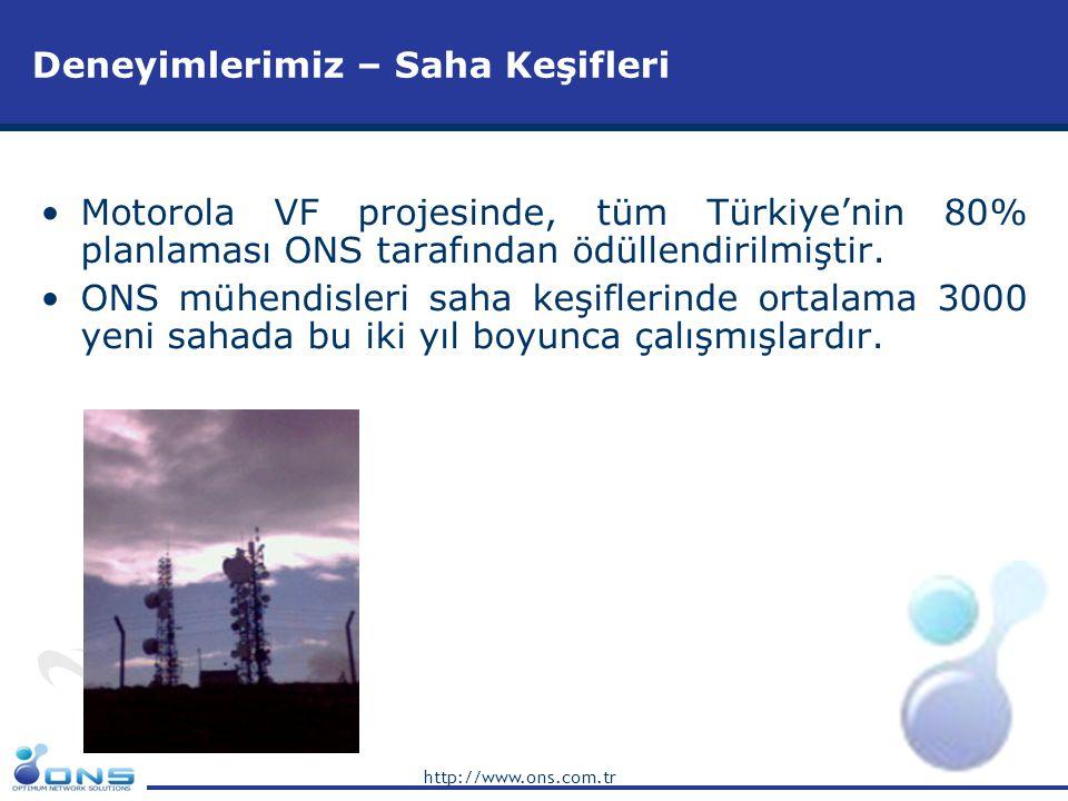 http://www.ons.com.tr Deneyimlerimiz –RF Network Pratik Planlama •Motorola VF projesinde, tüm Türkiye'nin 80% planlaması ONS tarafından ödüllendirilmiştir.