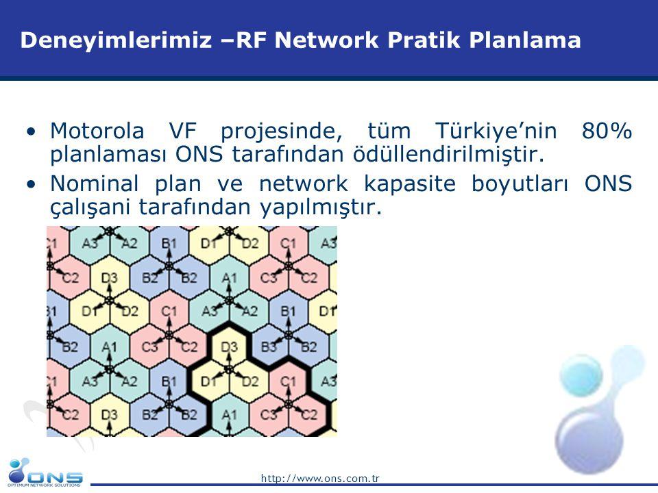 http://www.ons.com.tr Deneyimlerimiz –RF Network Pratik Planlama •Motorola VF projesinde, tüm Türkiye'nin 80% planlaması ONS tarafından ödüllendirilmi
