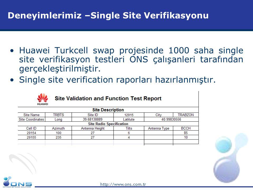 http://www.ons.com.tr Deneyimlerimiz –RF Optimizasyon •Huawei Turkcell swap projesinde bölgesel optimizasyon raporları hazırlanmıştır.
