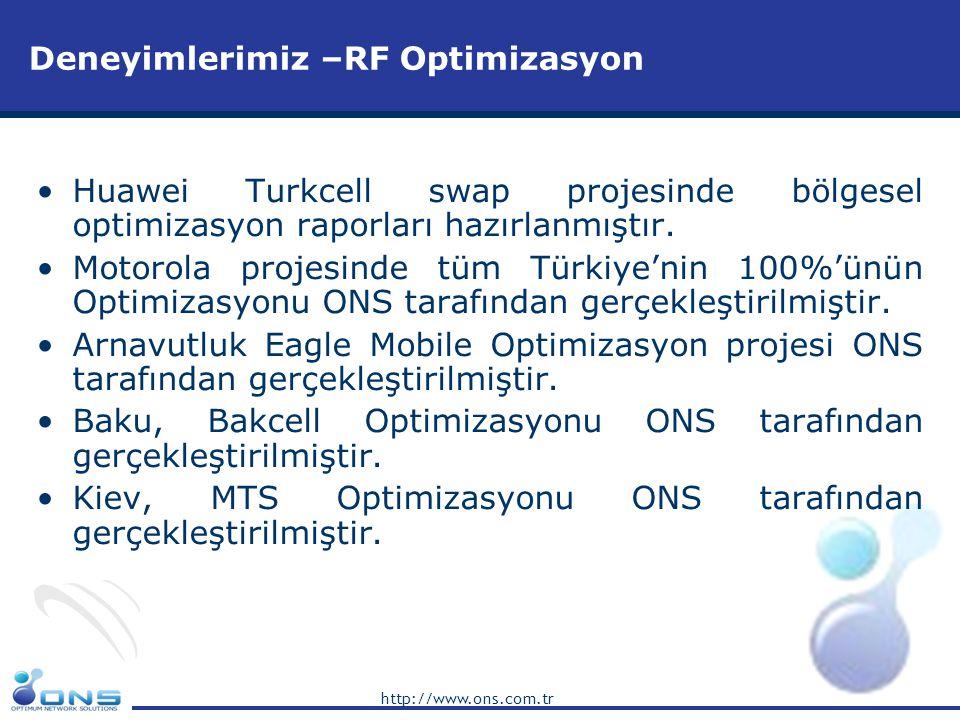 http://www.ons.com.tr Deneyimlerimiz –RF Optimizasyon •Huawei Turkcell swap projesinde bölgesel optimizasyon raporları hazırlanmıştır. •Motorola proje