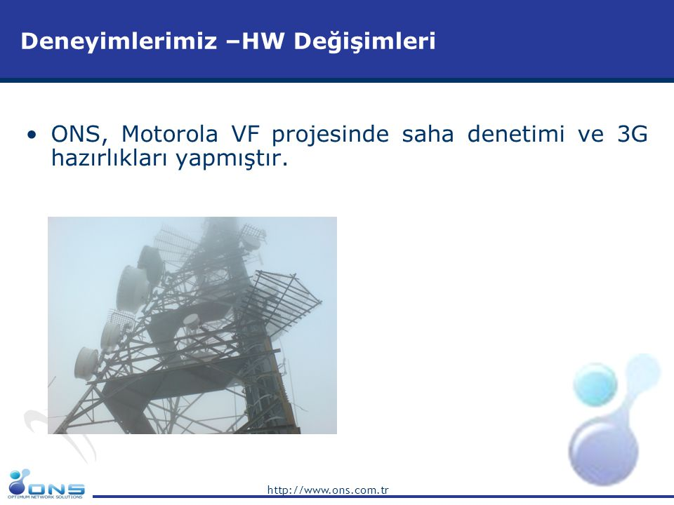 http://www.ons.com.tr Deneyimlerimiz: •Turkcell Swap Optimizasyon Projesi,Huawei, Türkiye •Bakcell RF & Optimizasyon Projesi, NSN, Azerbaycan •Astelit Final Kabul Projesi, NSN, Batı Ukrayna •3G/HSDPA Test ve Raporlama,Trial UMTS Network, NSN, Türkiye •3G RF Planlama Kaynaklarını Sağlama, NSN,Türkiye •Astelit GSM Network Planlama Projesi, NSN,Ukrayna •2G Nominal Planlama, NSN, Türkiye •3G Nominal Planlama ve Wi-Max Ön Keşifler,Alcatel Lucent, Türkiye •3G Nominal Planlama, ZTE, Turkey •WLL Nominal RF ve TR Planlama,Huawei Türkiye •Turnkey GSM Network Planlama Projesi, Motorola/ Vodafone Türkiye •Vodafone GSM Network Transmisyon Optimizasyon Projesi,Türkiye •Vodafone GSM Network Drive Test & Optimizasyon Projesi,Türkiye •Eagle Mobile GSM Network Planlama Projesi, Huawei, Arnavutluk •UMC GSM Optimizasyon Projesi Ukrayna •Berke-Azerfon GSM Dizayn Projesi, Azerbaycan •Kktcell GSM Network Expansion ve Optimizasyon Projesi, Kıbrıs •AVS-Life GSM Indoor Çözümleri Projesi, Ukrayna •Türk GSM Operatörleri Benchmarking Projesi,Telekomünikasyon Birliği,Türkiye Deneyimlerimiz – Biten Projelerimiz