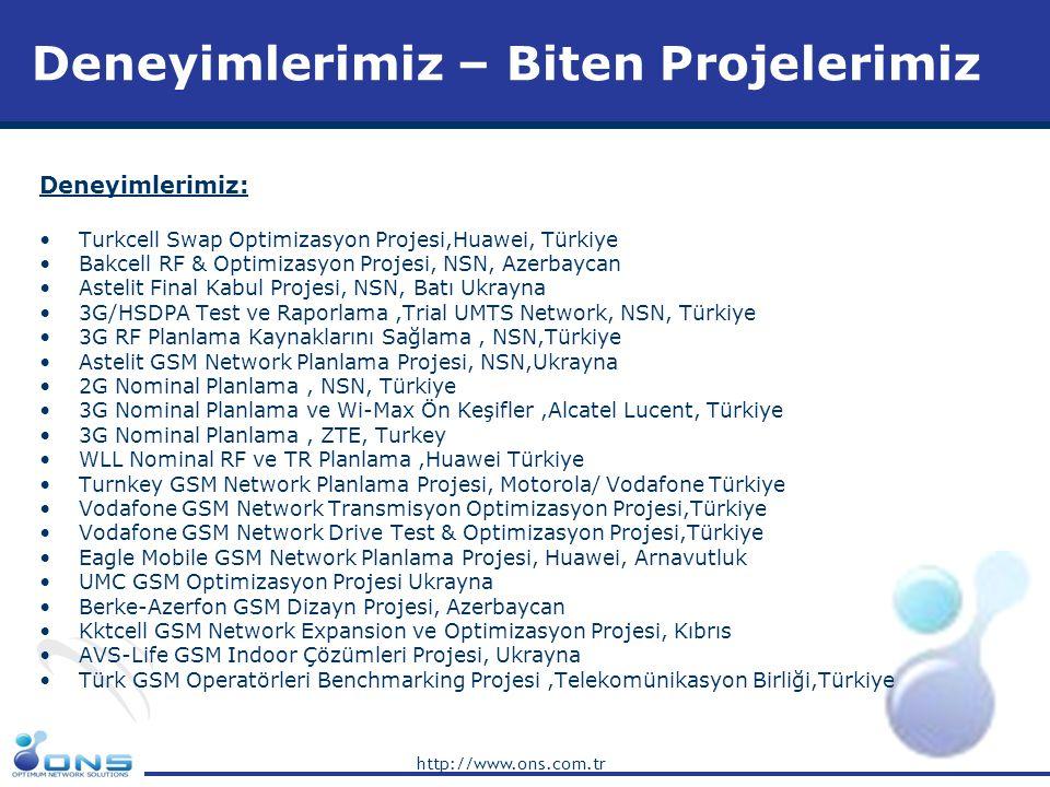 http://www.ons.com.tr Deneyimlerimiz: •Turkcell Swap Optimizasyon Projesi,Huawei, Türkiye •Bakcell RF & Optimizasyon Projesi, NSN, Azerbaycan •Astelit
