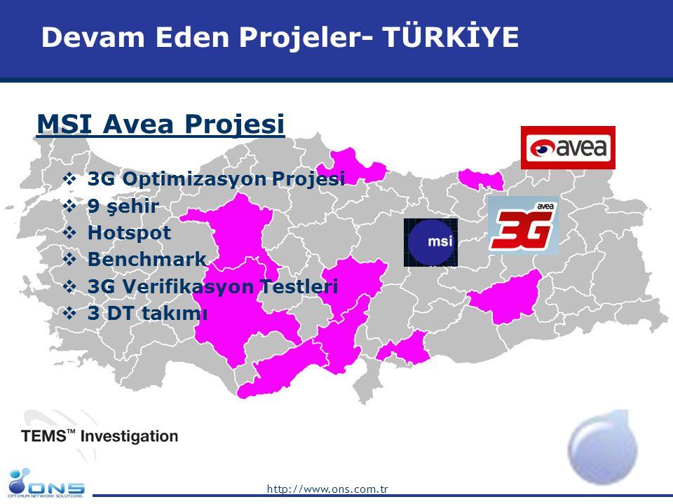 http://www.ons.com.tr Devam Eden Projeler – AZERBAYCAN NSN-Bakcell Optimizasyon Projesi  2G Network Swap & Optimizasyon Projesi  Baku şehir içinde 500 Swap Sahası  KPI Harmonizasyon ve Formula Mapping  Parameter Mapping (Siemens'ten Nokia'ya)  Yeni Frekans Planlaması  Hedeflere göre bölgesel kabul  GPRS ve EDGE Testleri  Operatörler arası kıyaslama  Nokia S-13 BSS'te yeni özelliklerin denenmesi  DT ve Network KPI Analizi  HW, TXN ve Core sorunlarının teşhisi  Swap boyunca servis kalitesinin sağlanması