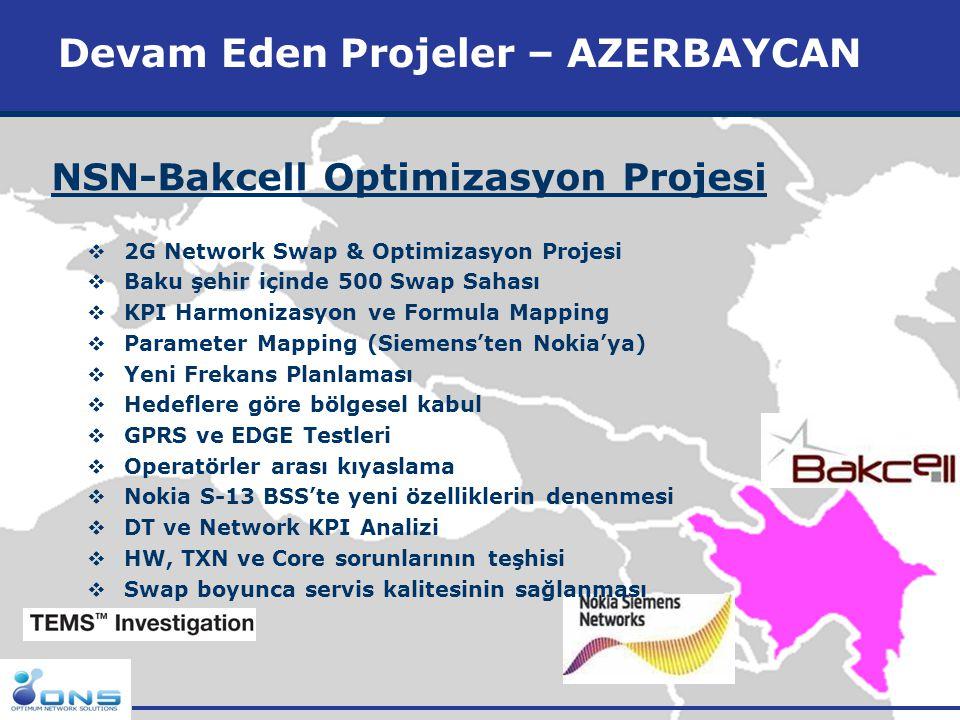 http://www.ons.com.tr Devam Eden Projeler - ARNAVUTLUK Huawei-Eagle Mobile Optimizasyon Projesi  2G Network Optimizasyon Projesi  Tüm Arnavutluk  900 ve 1800 network  Transmisyon  Optimizasyon  Saha Keşifleri  Benchmarking  GPRS-EDGE Testleri  Drive Testleri & Analizleri  İstatistiksel Analiz