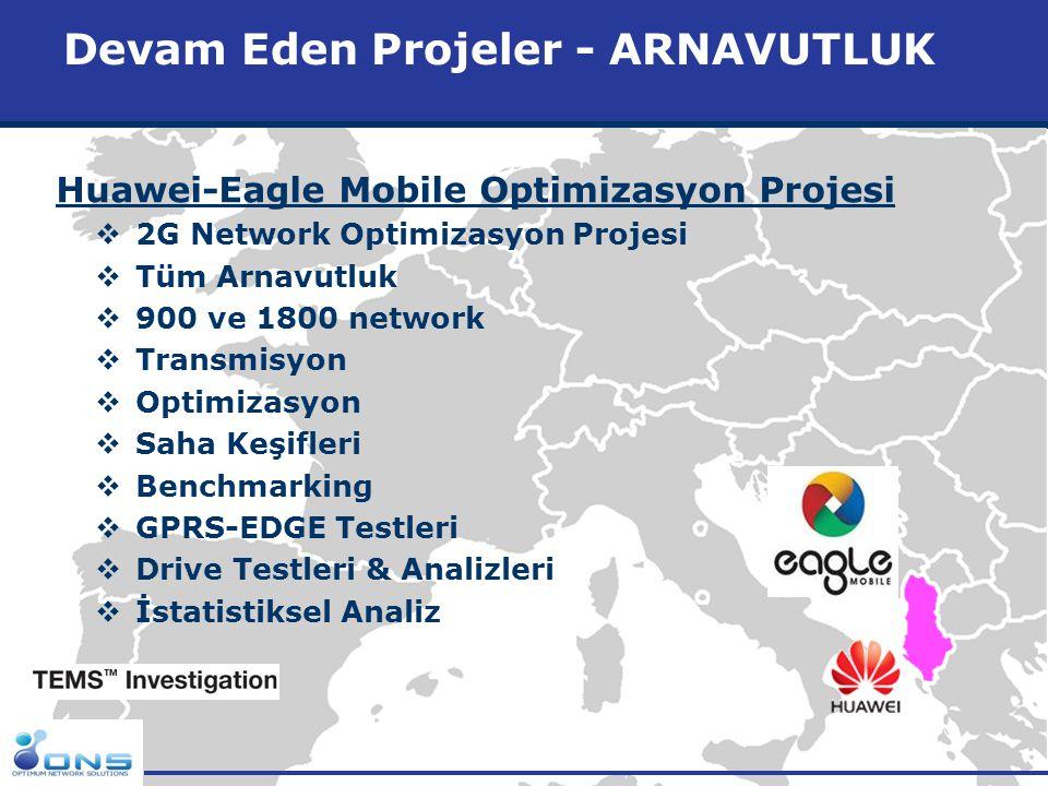 http://www.ons.com.tr Devam Eden Projeler - ARNAVUTLUK Huawei-Eagle Mobile Optimizasyon Projesi  2G Network Optimizasyon Projesi  Tüm Arnavutluk  9