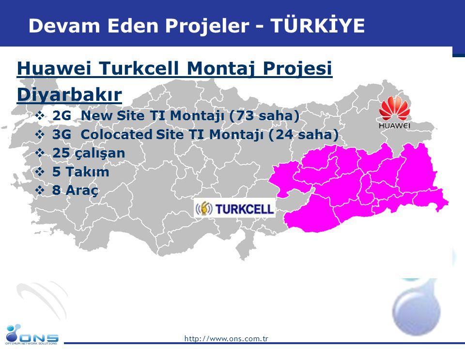 http://www.ons.com.tr ZTE Avea 3G Montaj Projesi  Surveillance destek, Istanbul 5 çalışan  FLM destek 3 çalışan  BTK Dosya Hazırlama  As Built Dosya Hazırlama  TSS Dosya Hazırlama  FAZ 1 3G montaj 98 saha  FAZ 2 3G montaj 69 saha Devam Eden Projeler - TÜRKİYE