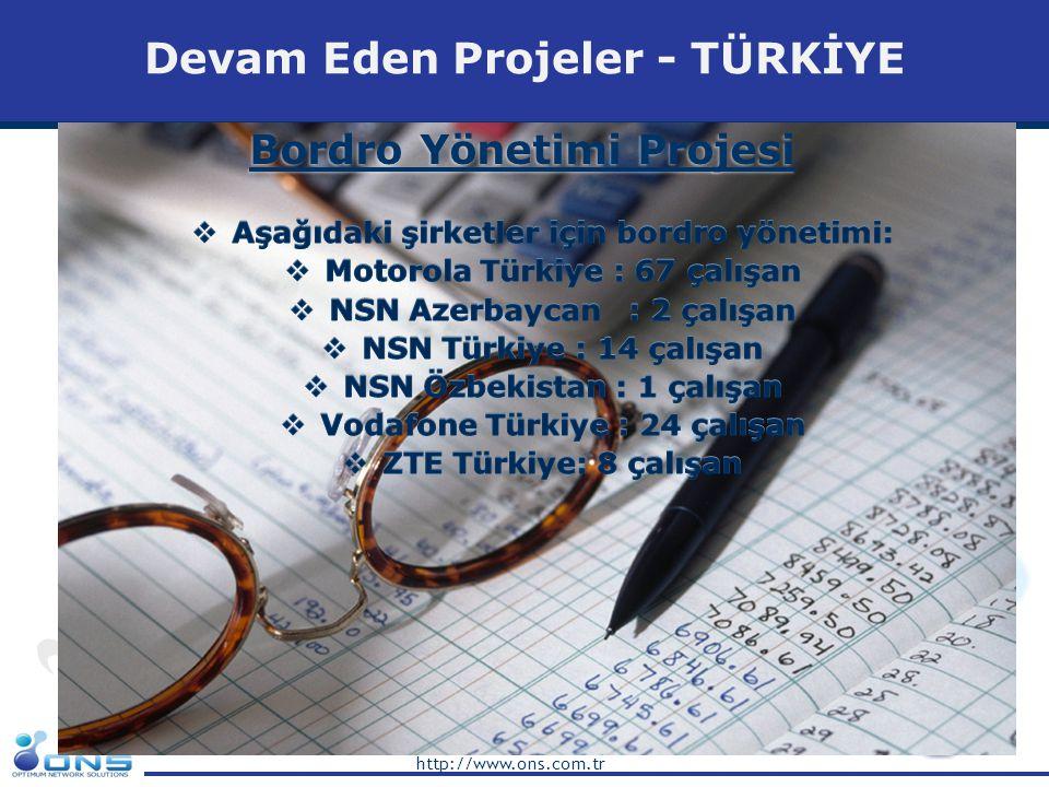 http://www.ons.com.tr Biten Projeler - TÜRKİYE Huawei-Turkcell 2G Swap Projesi  Başlangıç Şubat 2008 – Bitiş Şubat 2009  1100 2G saha civarında  Turkey Trabzon Bölgesi  Single Site Verifikasyon Testleri, 2G  Single Site Verifikasyon ve Fonksiyon Testleri, 2G  Bölgesel kabul ve Optimizasyon, 2G  GPRS Performans  EDGE Performans  6 DT Takımı  4 Analiz Mühendisi