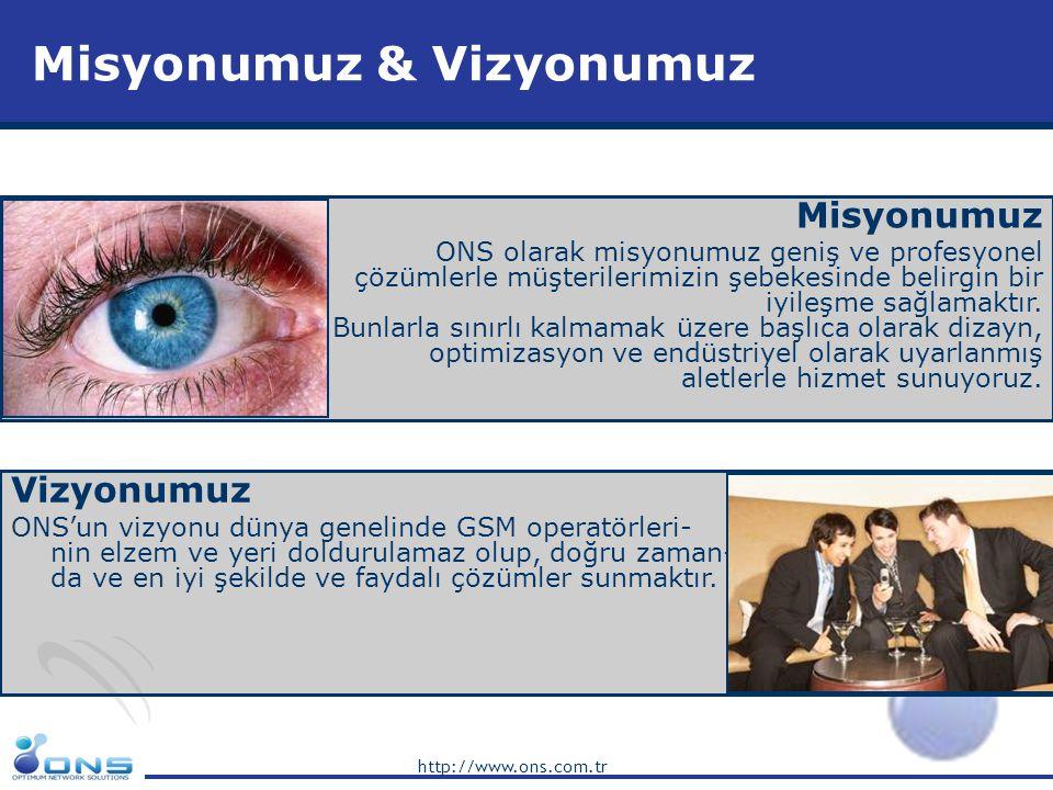 http://www.ons.com.tr Misyonumuz & Vizyonumuz Vizyonumuz ONS'un vizyonu dünya genelinde GSM operatörleri- nin elzem ve yeri doldurulamaz olup, doğru z