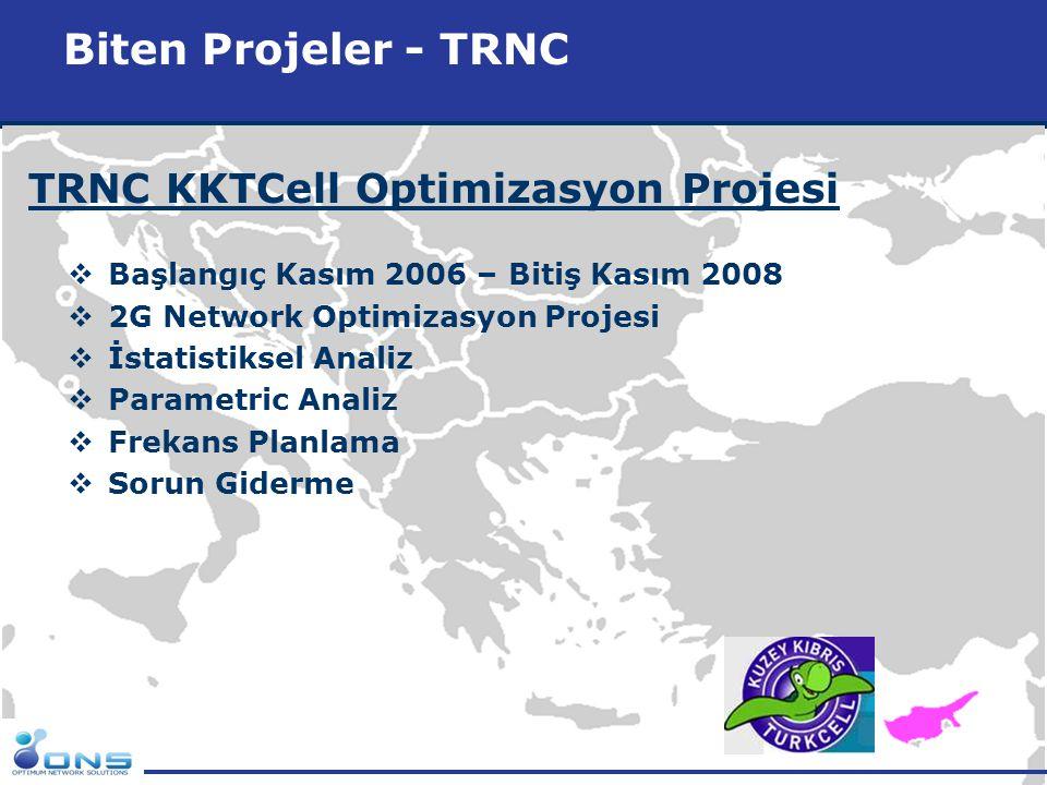 http://www.ons.com.tr Biten Projeler - TRNC TRNC KKTCell Optimizasyon Projesi  Başlangıç Kasım 2006 – Bitiş Kasım 2008  2G Network Optimizasyon Proj
