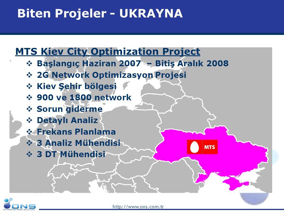 http://www.ons.com.tr Biten Projeler - UKRAYNA MTS Kiev City Optimization Project  Başlangıç Haziran 2007 – Bitiş Aralık 2008  2G Network Optimizasy