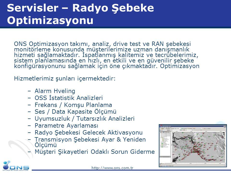 http://www.ons.com.tr Servisler – Radyo Şebeke Optimizasyonu ONS Optimizasyon takımı, analiz, drive test ve RAN şebekesi monitörleme konusunda müşteri