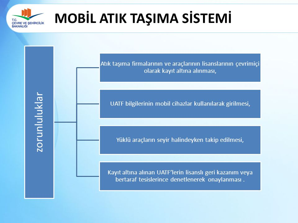 MOBİL ATIK TAŞIMA SİSTEMİ zorunluluklar Atık taşıma firmalarının ve araçlarının lisanslarının çevrimiçi olarak kayıt altına alınması, UATF bilgilerini