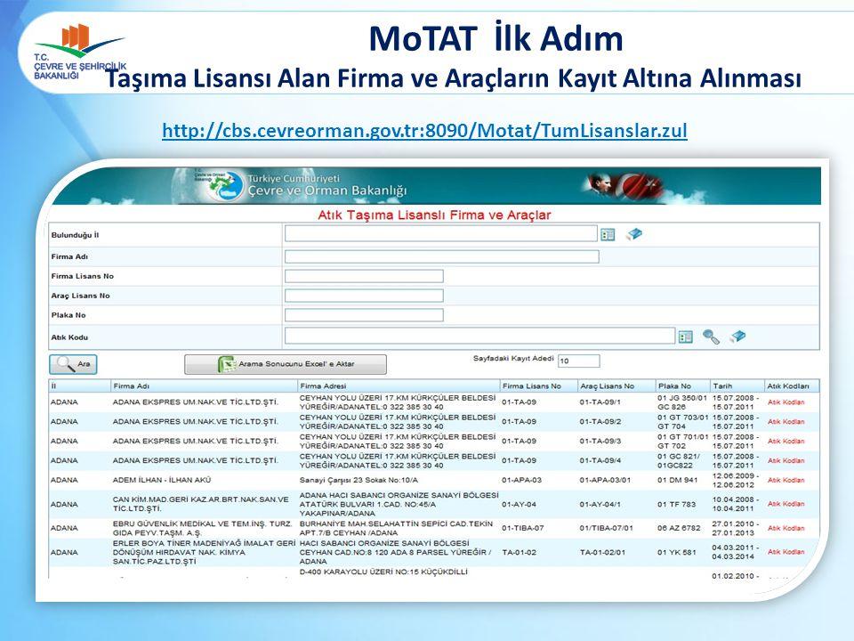 MoTAT İlk Adım Taşıma Lisansı Alan Firma ve Araçların Kayıt Altına Alınması http://cbs.cevreorman.gov.tr:8090/Motat/TumLisanslar.zul
