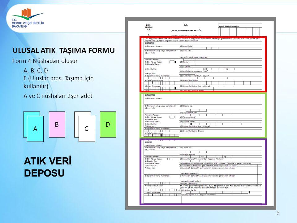 5 ULUSAL ATIK TAŞIMA FORMU Form 4 Nüshadan oluşur A, B, C, D E (Uluslar arası Taşıma için kullanılır) A ve C nüshaları 2şer adet BADC AC ATIK VERİ DEP