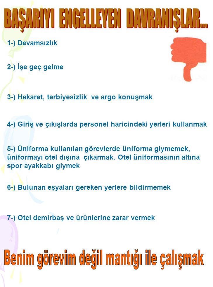 1-) Devamsızlık 2-) İşe geç gelme 3-) Hakaret, terbiyesizlik ve argo konuşmak 4-) Giriş ve çıkışlarda personel haricindeki yerleri kullanmak 5-) Ünifo