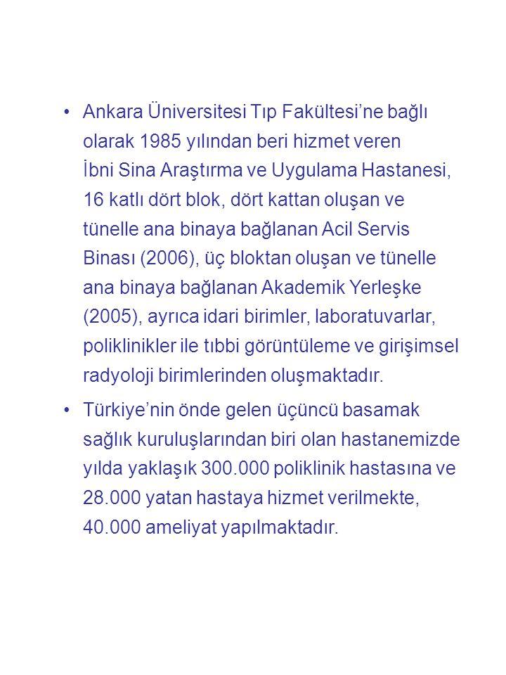 •Ankara Üniversitesi Tıp Fakültesi'ne bağlı olarak 1985 yılından beri hizmet veren İbni Sina Araştırma ve Uygulama Hastanesi, 16 katlı dört blok, dört