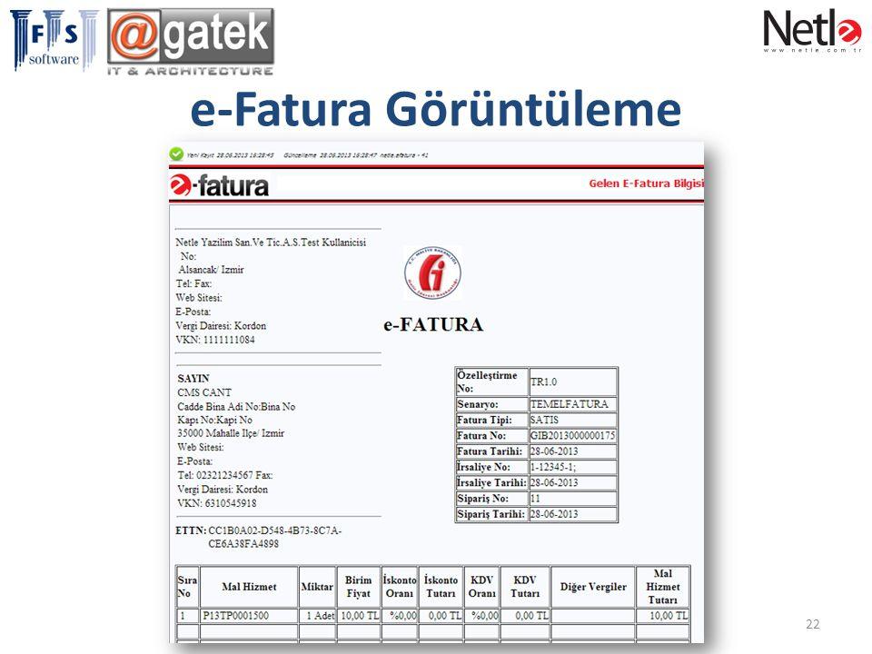 e-Fatura Görüntüleme 22