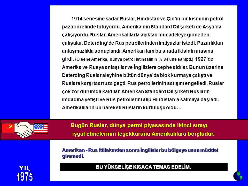 1914 senesine kadar Ruslar, Hindistan ve Çin'in bir kısmının petrol pazarını elinde tutuyordu. Amerika'nın Standard Oil şirketi de Asya'da çalışıyordu