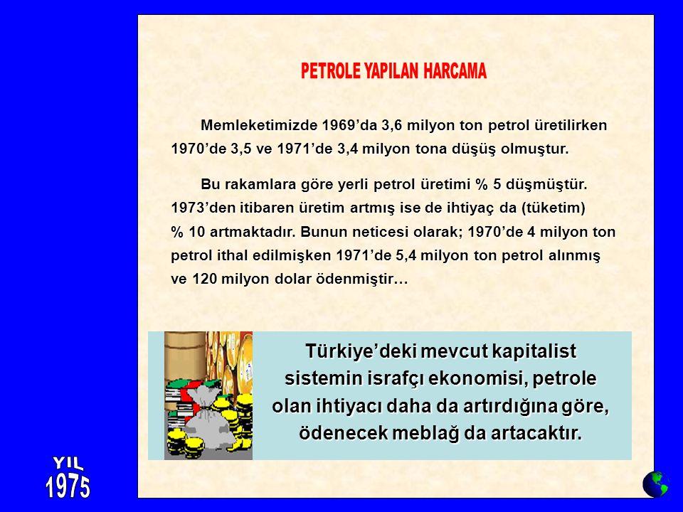 Memleketimizde 1969'da 3,6 milyon ton petrol üretilirken 1970'de 3,5 ve 1971'de 3,4 milyon tona düşüş olmuştur. Memleketimizde 1969'da 3,6 milyon ton
