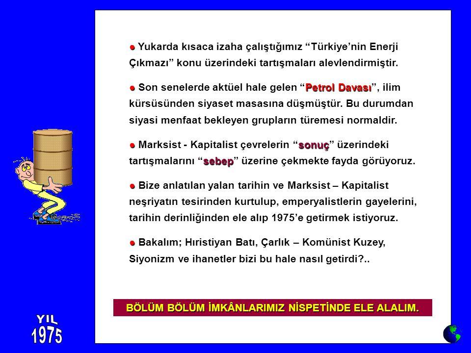 """● ● Yukarda kısaca izaha çalıştığımız """"Türkiye'nin Enerji Çıkmazı"""" konu üzerindeki tartışmaları alevlendirmiştir. ●Petrol Davası ● Son senelerde aktüe"""