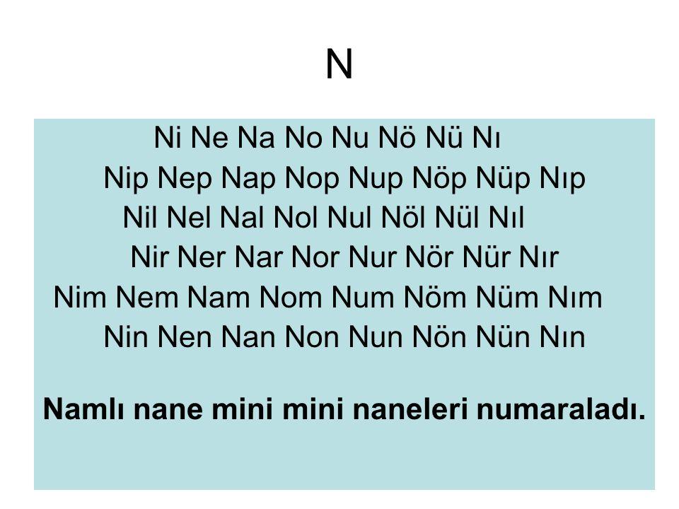 N Ni Ne Na No Nu Nö Nü Nı Nip Nep Nap Nop Nup Nöp Nüp Nıp Nil Nel Nal Nol Nul Nöl Nül Nıl Nir Ner Nar Nor Nur Nör Nür Nır Nim Nem Nam Nom Num Nöm Nüm Nım Nin Nen Nan Non Nun Nön Nün Nın Namlı nane mini mini naneleri numaraladı.