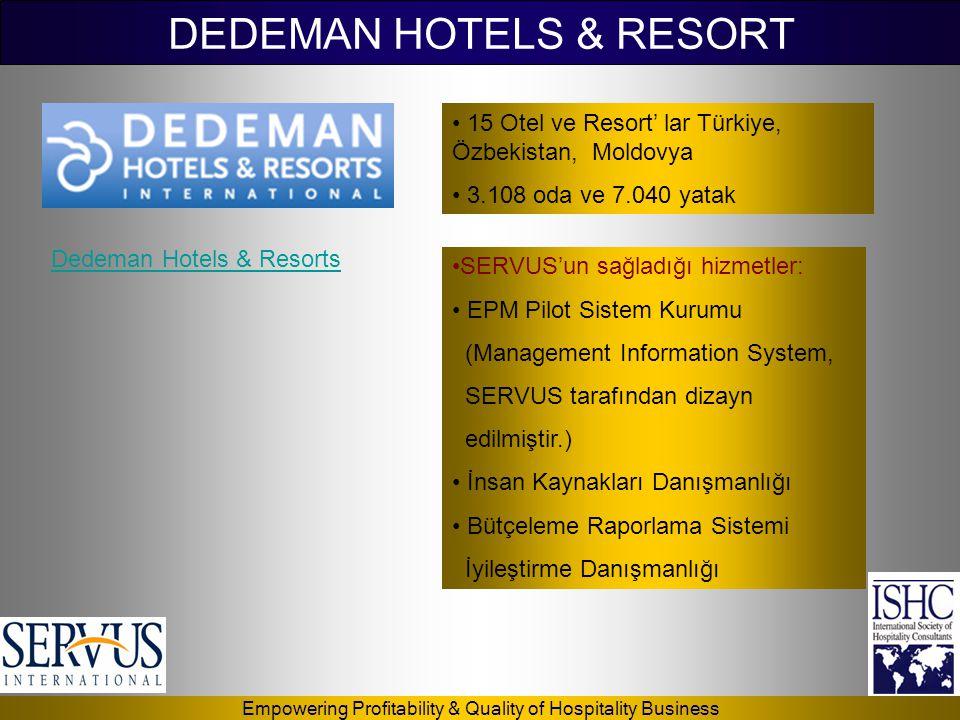 Empowering Profitability & Quality of Hospitality Business • 15 Otel ve Resort' lar Türkiye, Özbekistan, Moldovya • 3.108 oda ve 7.040 yatak Dedeman H