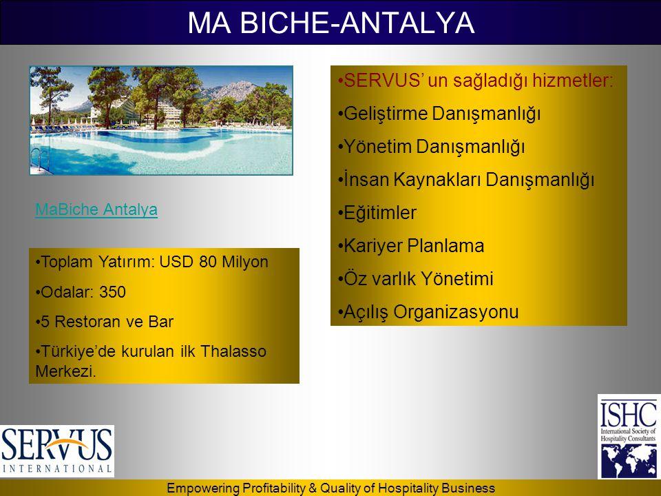 Empowering Profitability & Quality of Hospitality Business MA BICHE-ANTALYA •Toplam Yatırım: USD 80 Milyon •Odalar: 350 •5 Restoran ve Bar •Türkiye'de