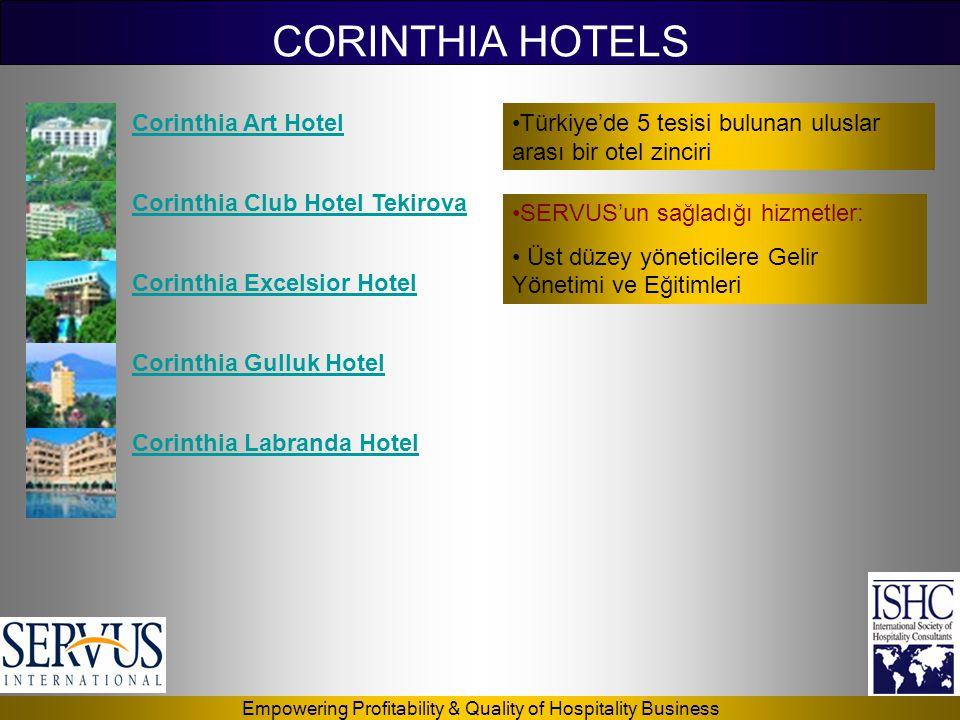 Empowering Profitability & Quality of Hospitality Business CORINTHIA HOTELS Corinthia Art Hotel Corinthia Club Hotel Tekirova Corinthia Excelsior Hote