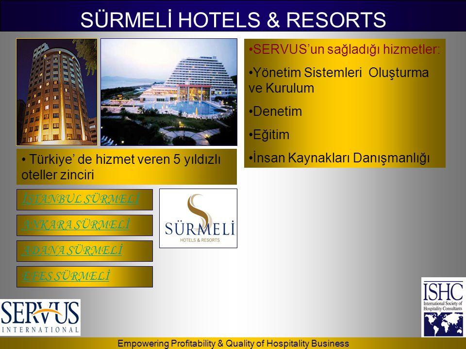 Empowering Profitability & Quality of Hospitality Business SÜRMELİ HOTELS & RESORTS İSTANBUL SÜRMELİ ADANA SÜRMELİ ANKARA SÜRMELİ EFES SÜRMELİ •SERVUS