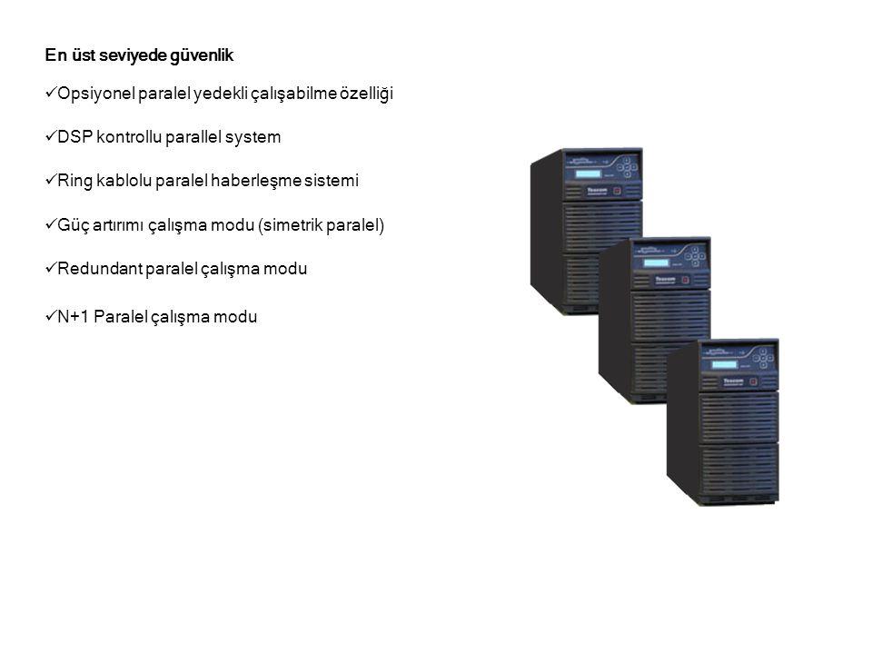 En üst seviyede güvenlik  Opsiyonel paralel yedekli çalışabilme özelliği  DSP kontrollu parallel system  Ring kablolu paralel haberleşme sistemi  Güç artırımı çalışma modu (simetrik paralel)  Redundant paralel çalışma modu  N+1 Paralel çalışma modu