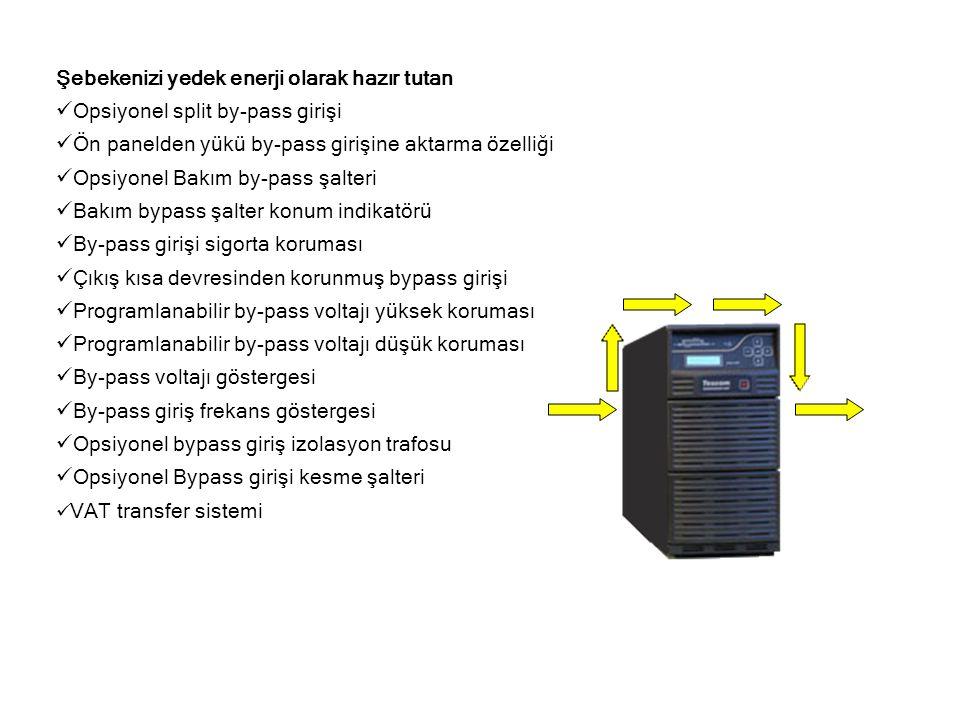 Şebekenizi yedek enerji olarak hazır tutan  Opsiyonel split by-pass girişi  Ön panelden yükü by-pass girişine aktarma özelliği  Opsiyonel Bakım by-pass şalteri  Bakım bypass şalter konum indikatörü  By-pass girişi sigorta koruması  Çıkış kısa devresinden korunmuş bypass girişi  Programlanabilir by-pass voltajı yüksek koruması  Programlanabilir by-pass voltajı düşük koruması  By-pass voltajı göstergesi  By-pass giriş frekans göstergesi  Opsiyonel bypass giriş izolasyon trafosu  Opsiyonel Bypass girişi kesme şalteri  VAT transfer sistemi