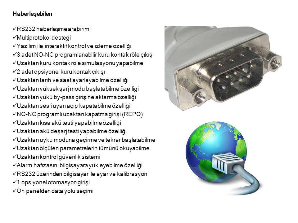 Haberleşebilen  RS232 haberleşme arabirimi  Multiprotokol desteği  Yazılım ile interaktif kontrol ve izleme özelliği  3 adet NO-NC programlanabilir kuru kontak röle çıkışı  Uzaktan kuru kontak röle simulasyonu yapabilme  2 adet opsiyonel kuru kontak çıkışı  Uzaktan tarih ve saat ayarlayabilme özelliği  Uzaktan yüksek şarj modu başlatabilme özelliği  Uzaktan yükü by-pass girişine aktarma özelliği  Uzaktan sesli uyarı açıp kapatabilme özelliği  NO-NC programlı uzaktan kapatma girişi (REPO)  Uzaktan kısa akü testi yapabilme özelliği  Uzaktan akü deşarj testi yapabilme özelliği  Uzaktan uyku moduna geçirme ve tekrar başlatabilme  Uzaktan ölçülen parametrelerin tümünü okuyabilme  Uzaktan kontrol güvenlik sistemi  Alarm hafızasını bilgisayara yükleyebilme özelliği  RS232 üzerinden bilgisayar ile ayar ve kalibrasyon  1 opsiyonel otomasyon girişi  Ön panelden data yolu seçimi